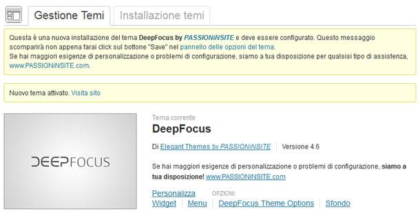 Caricato il Tema WordPress DeepFocus (download gratis), ecco la procedura per configurare il layout premium del sito web