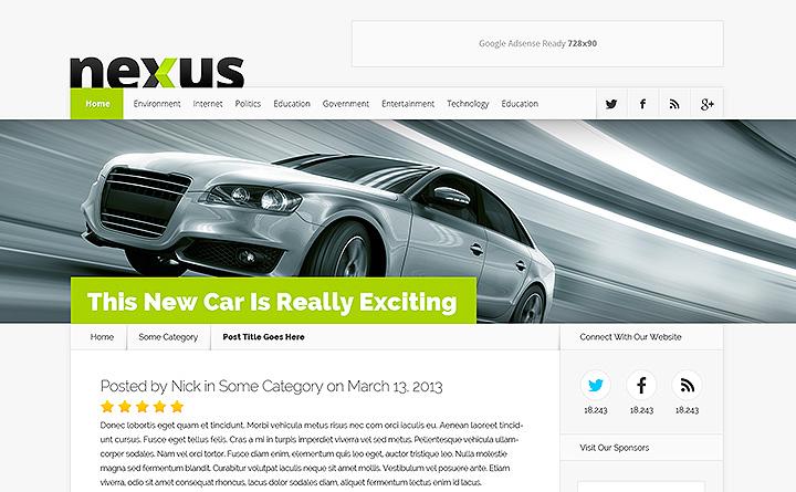 Moderno e razionale il layout del vostro nuovo sito web con il tema Nexus