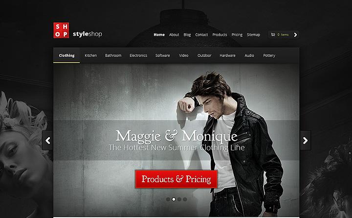Una layout Dark come prima proposta per il vostro sito eCommerce
